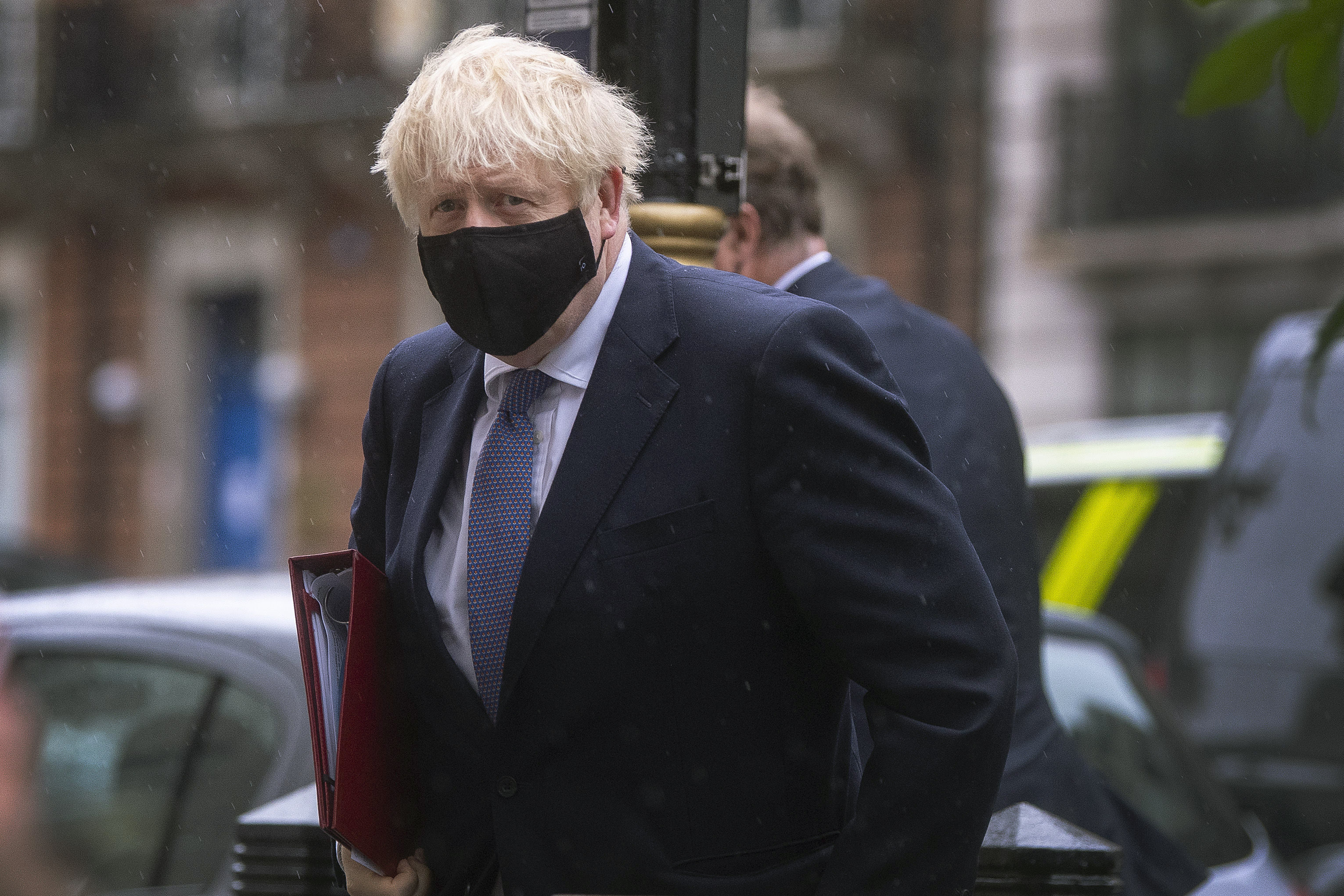 Britain's Prime Minister Boris Johnson arrives at BBC Broadcasting House to appear on the Andrew Marr show, in London, Oct. 4, 2020.