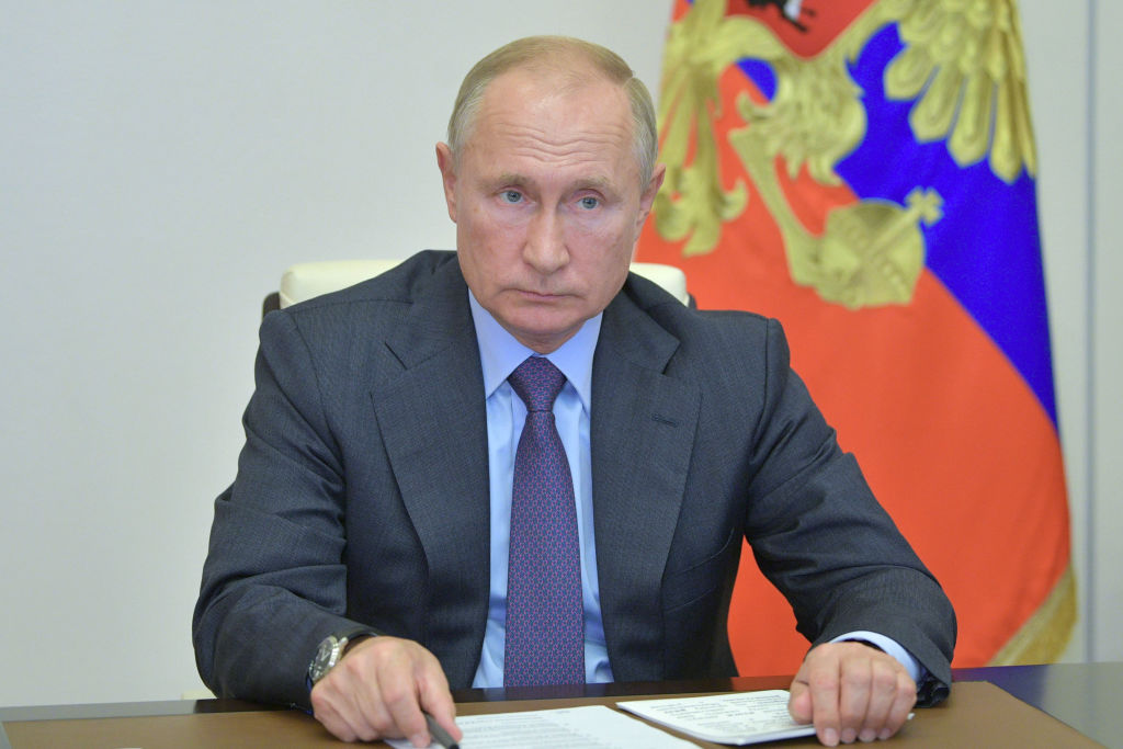 Russia's President Vladimir Putin holds a video conference meeting on development and decriminalization of Russia's timber industry at Novo-Ogaryovo residence on Sept. 30, 2020.