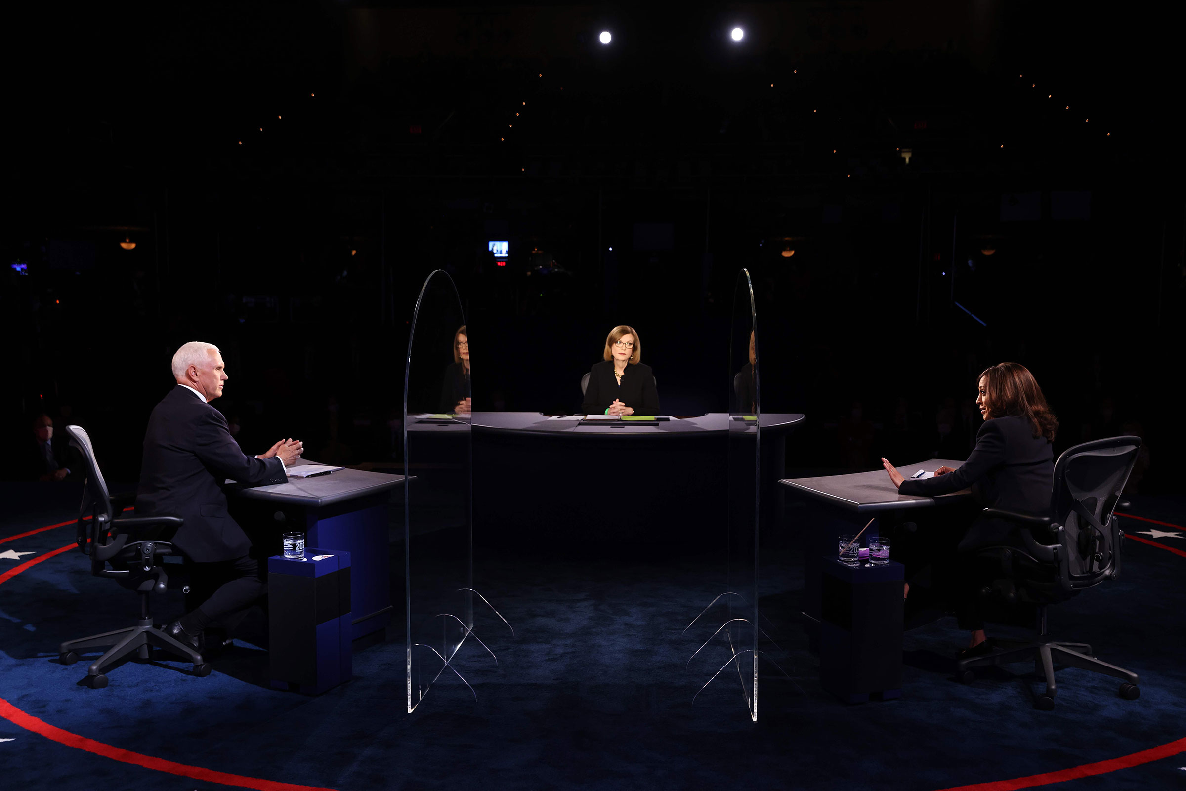 Vice President Mike and Pence Democratic vice presidential nominee and Senator Kamala Harris and moderator Washington Bureau Chief for USA Today Susan Page participate in the vice presidential debate on Oct. 7, 2020 in Salt Lake City, Utah.