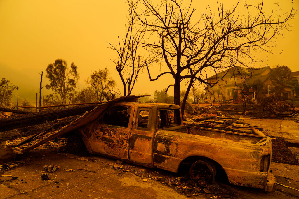 Burnt out homes and structures in Santa Rosa, CA, after a wildfire, photographed on Sept. 28, 2020.