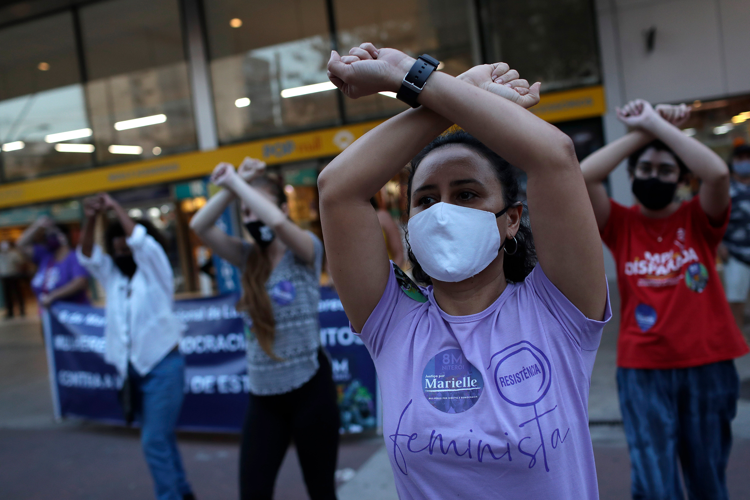 Women participate in  The Rapist Is You,  a feminist performance piece originating in Chile, during a demonstration against rape, gender-based violence, and domestic abuse in Niteroi, Brazil, Sept.2, 2020.