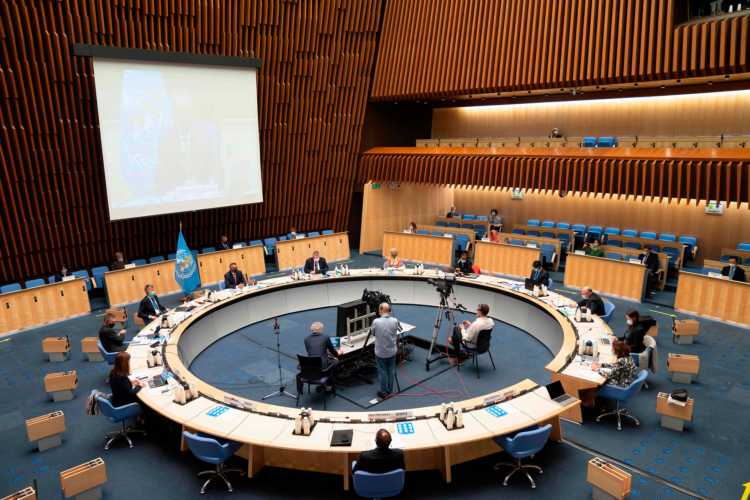 A general view during an executive board special session on the Covid-19 response at the World Health Organization (WHO) in Geneva on Oct. 5, 2020.