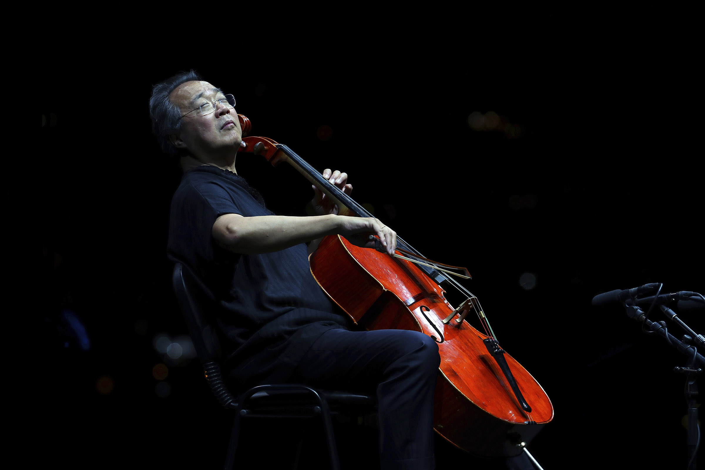 Cellist Yo-Yo Ma performs during the Byblos International Festival in Lebanon, on Aug. 24, 2019.