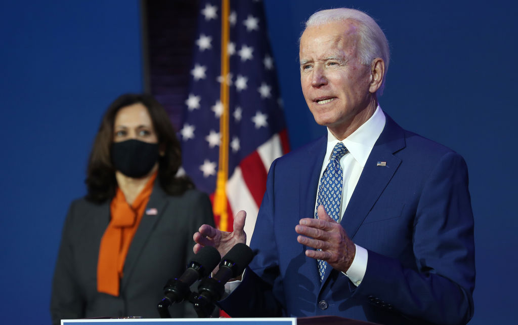 U.S. President-elect Joe Biden speaks to the media while flanked by Vice President-elect Kamala Harris, at the Queen Theater after receiving a briefing from the transition COVID-19 advisory board on November 09, 2020 in Wilmington, Delaware.