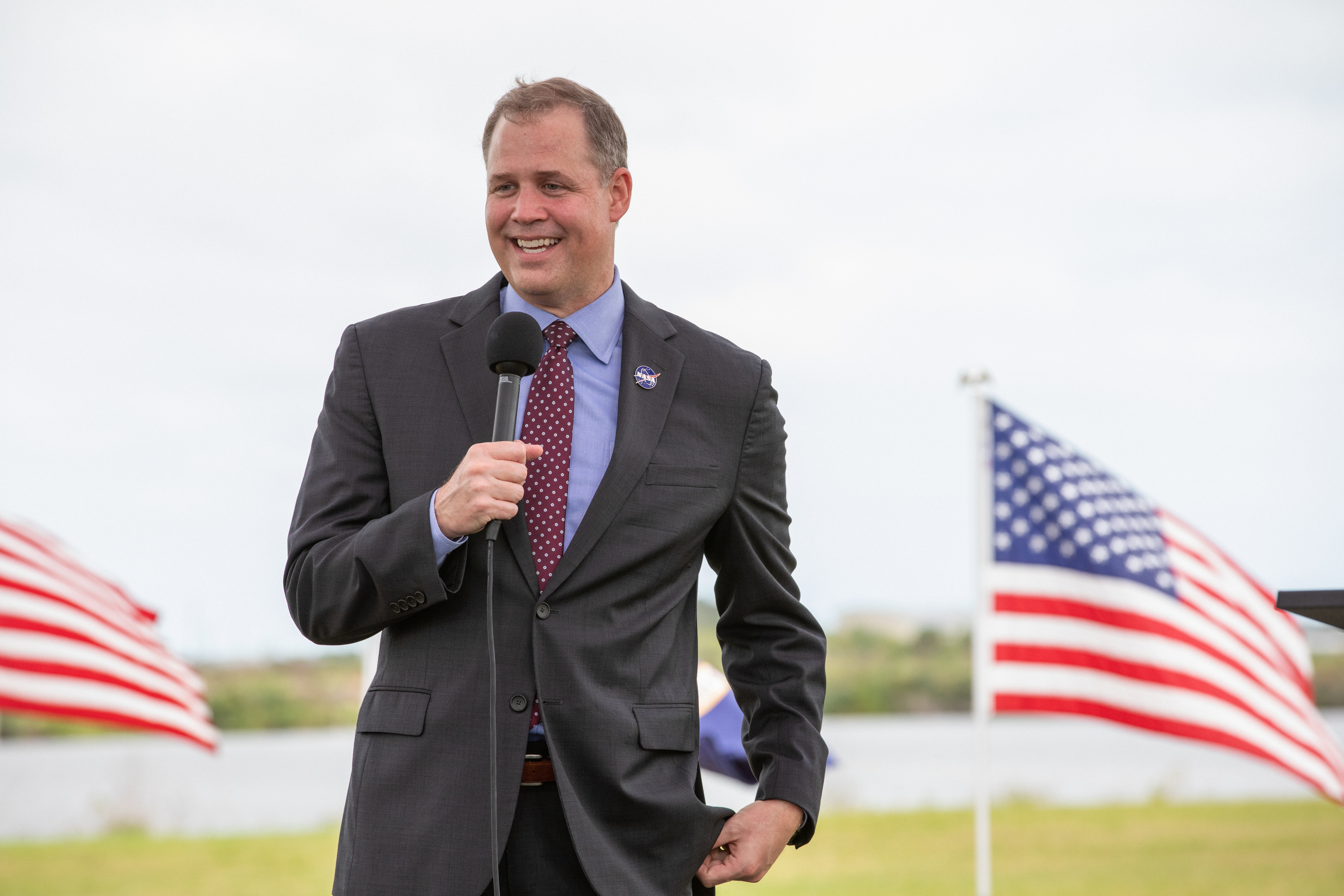 NASA Administrator Jim Bridenstine speaks to members of the media during a press briefing Nov. 13, 2020, near the Press Site countdown clock at the agency's Kennedy Space Center in Florida ahead of NASA's SpaceX Crew-1 launch.