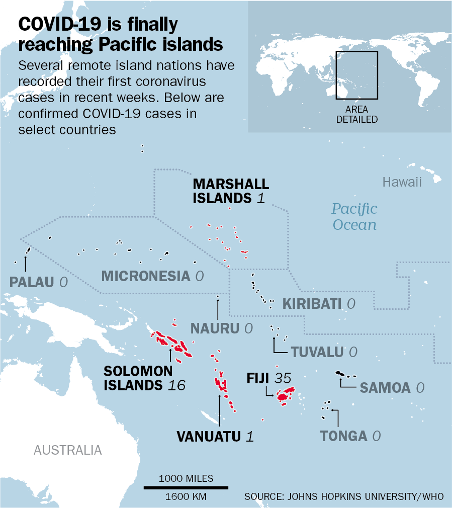 All of the last remaining COVID-19-free nations are believed to be far-flung islands in the Pacific Ocean.
