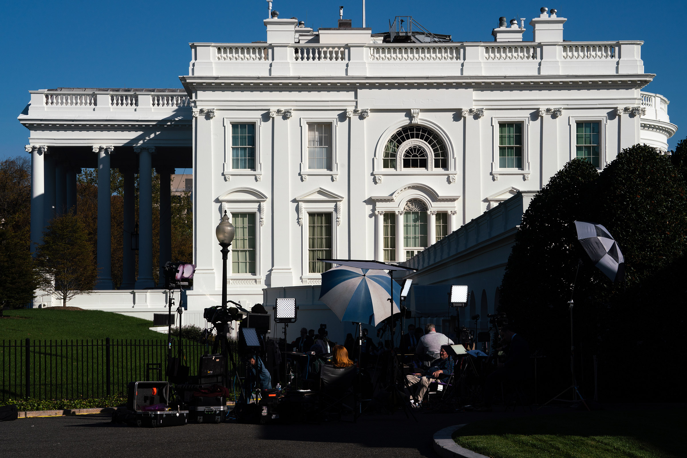 The White House grounds on Nov. 6, when the results remained unclear.