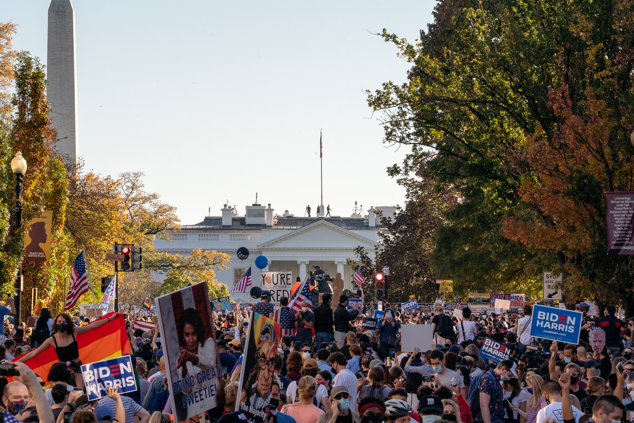 Celebrations erupted near the White House in Washington, D.C., after Biden was declared the winner of the election.