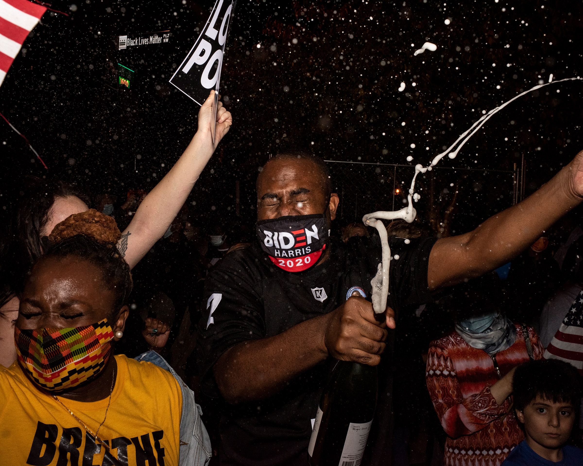 Biden-Harris supporters celebrate their win in Washington, D.C., on Nov. 7.