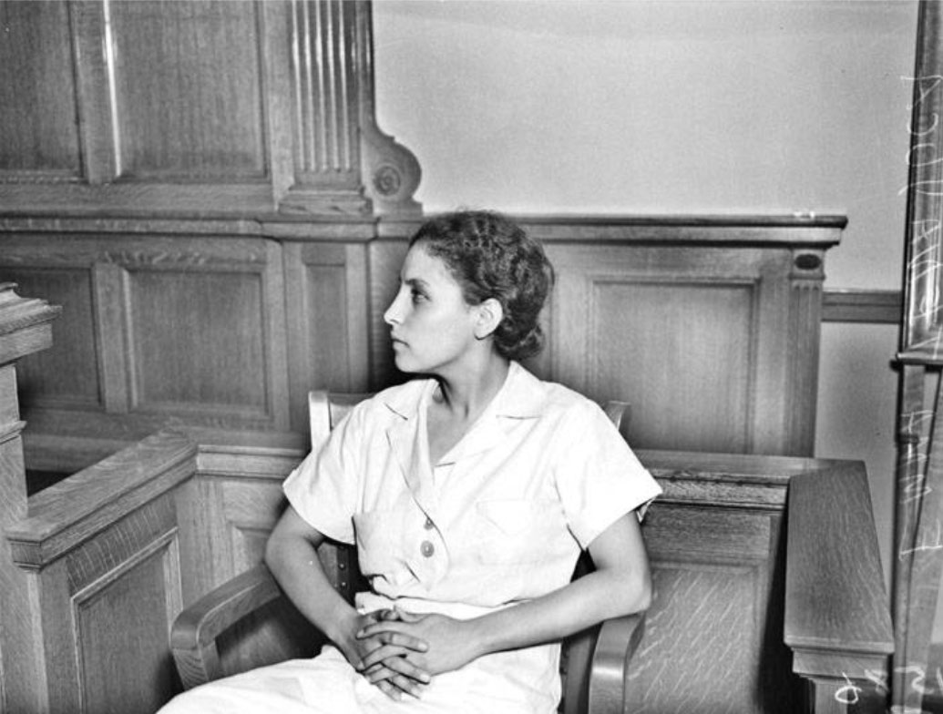 Emma Tenayuca on the witness stand in 1937.