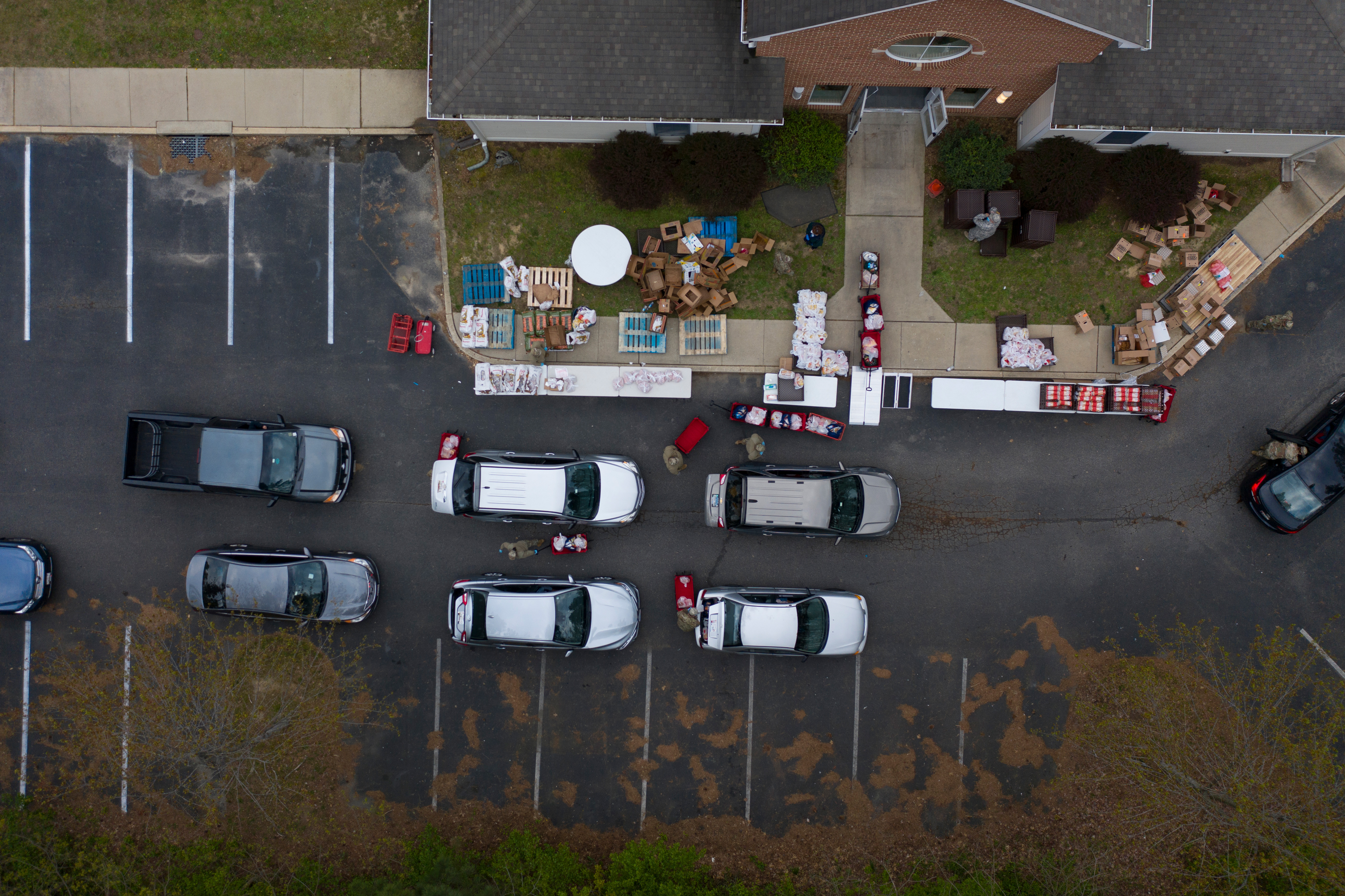 An aerial view of a food distribution site during the stay-at-home order in Centreville, Md., on April 17.