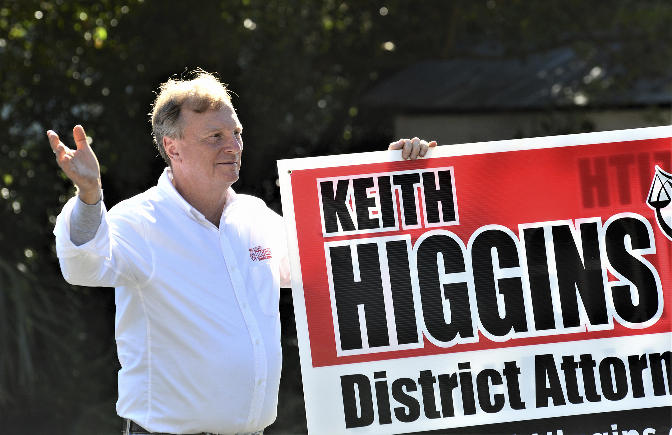 Keith Higgins campaigns on Election Day, Nov. 3, 2020, on St. Simons Island, Georgia, in his race for district attorney of Georgia's Brunswick Judicial Circuit.