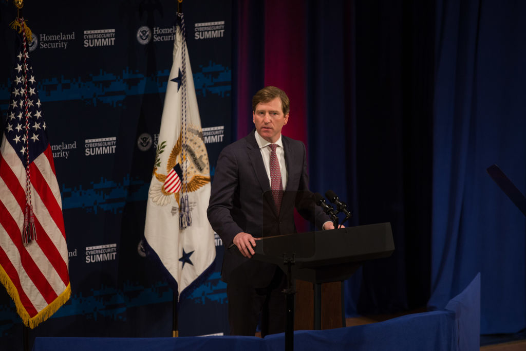 U.S. Department of Homeland Security Under Secretary Chris Krebs speaks during the Department of Homeland Security's Cybersecurity Summit in New York City on July 31, 2018.