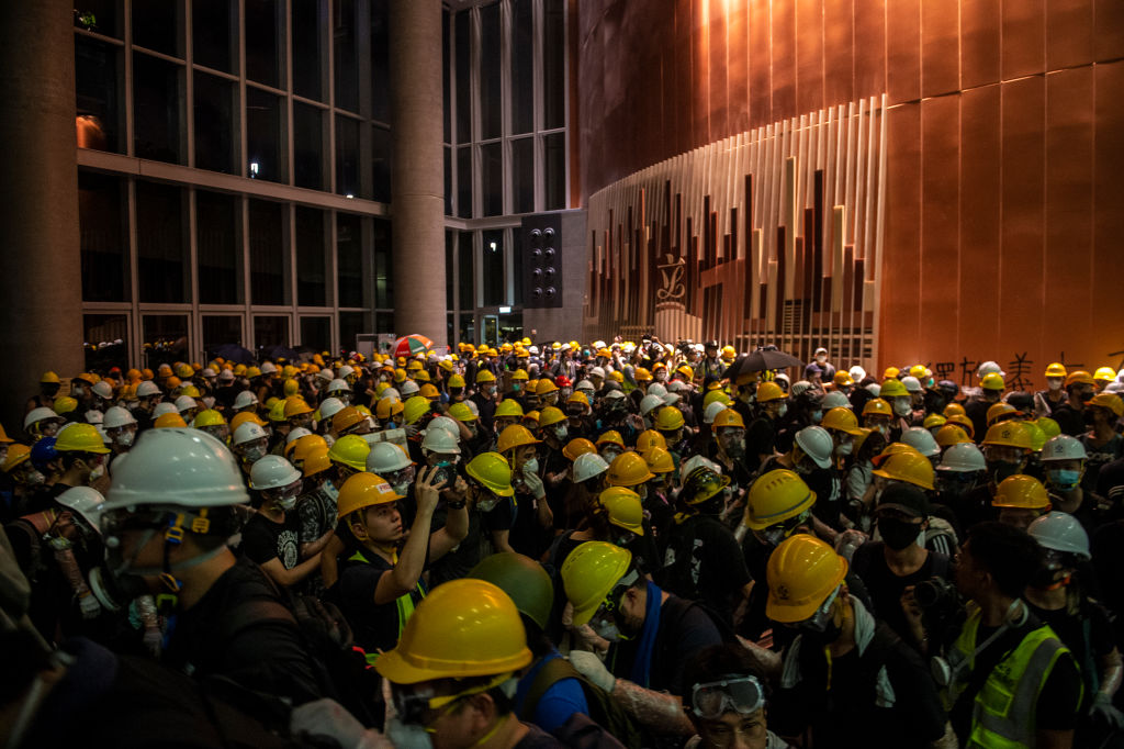 Protesters are seen inside the lobby of Legco in Hong Kong, China. 1 July 2019 as thousands of protesters stormed the Legislative Council Complex