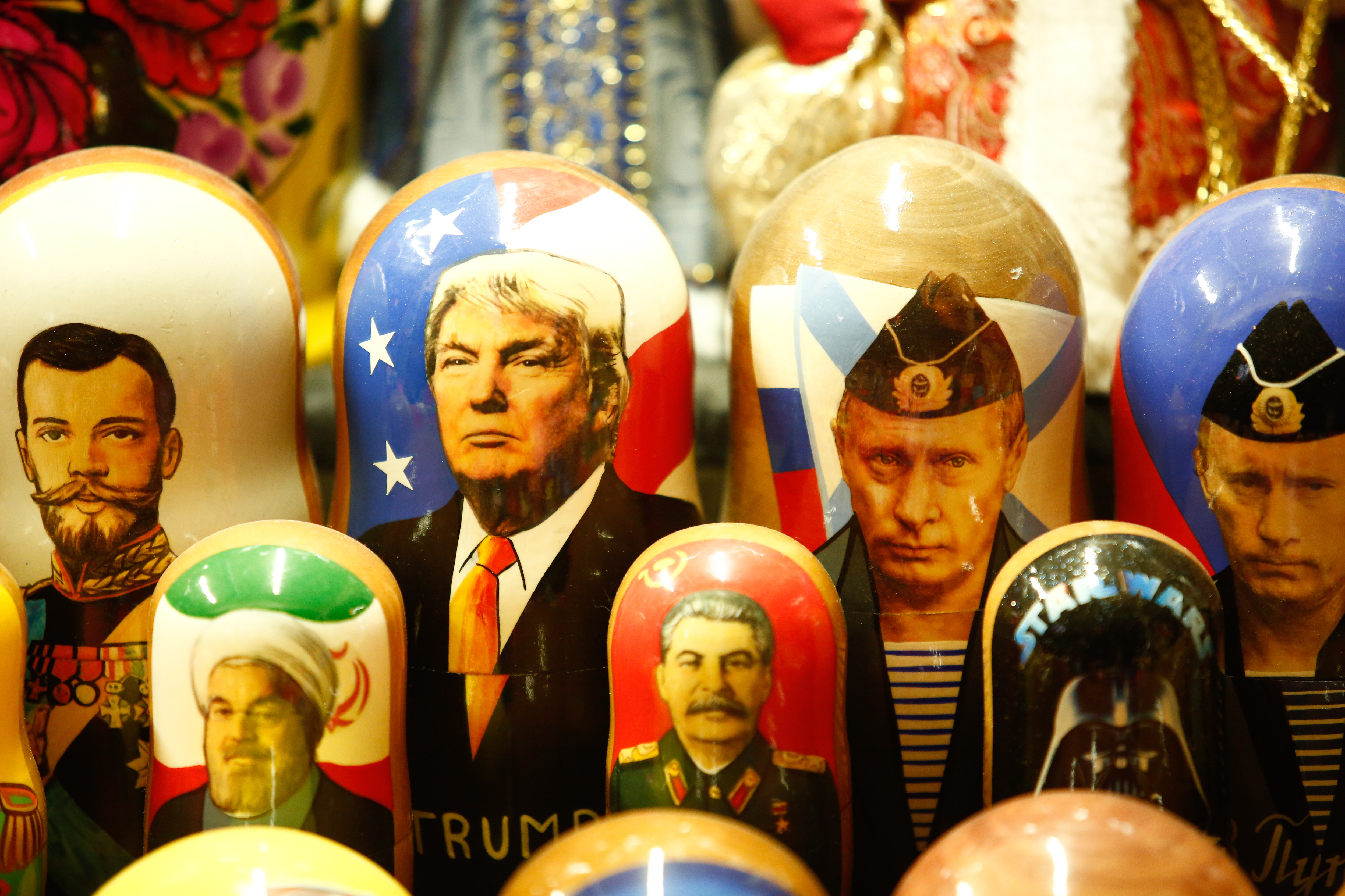 Russian nesting dolls depicting Putin and Trump on sale at a fair in St. Petersburg, Russia, on Dec. 29, 2019.