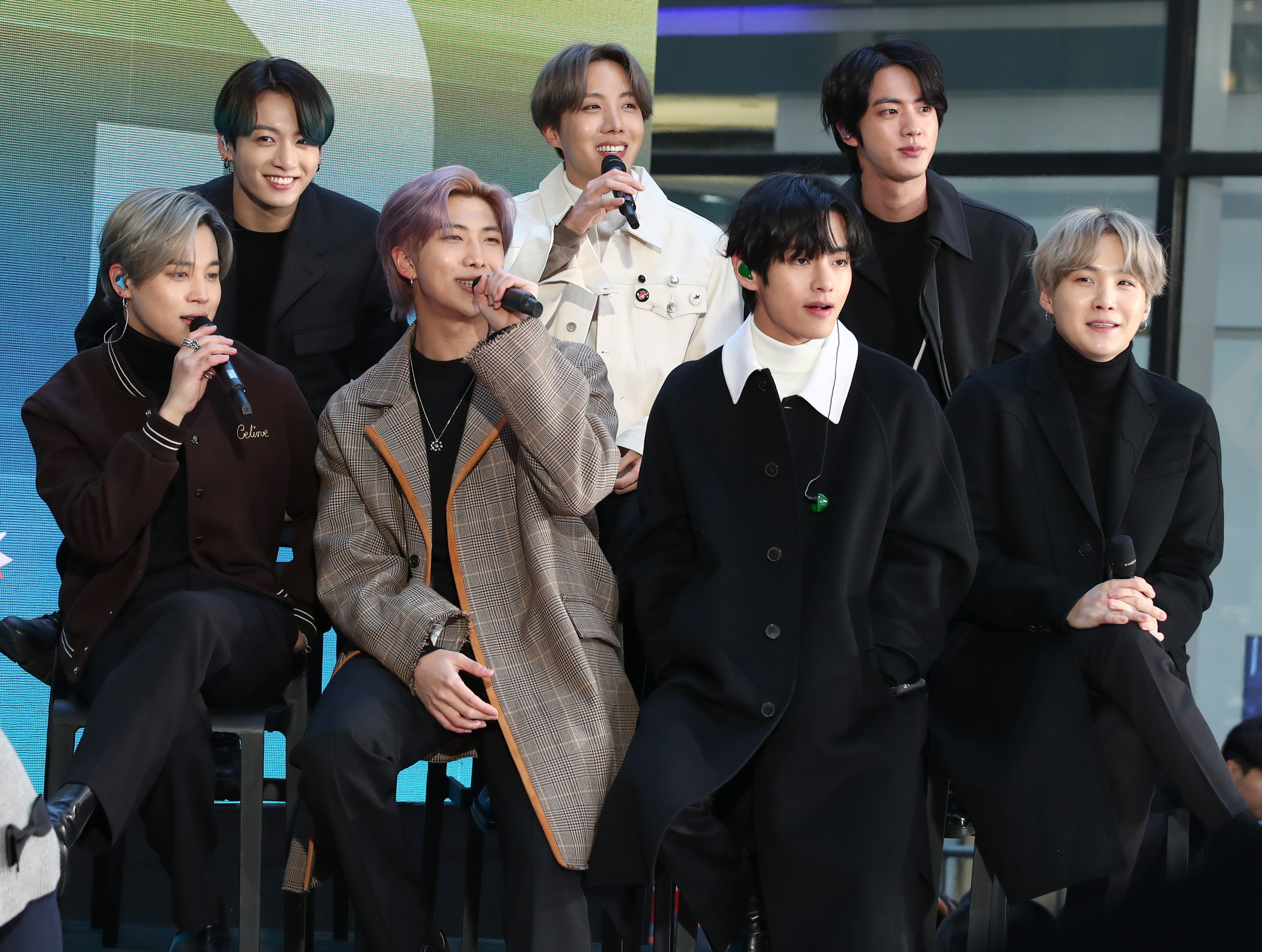 Jimin, Jungkook, RM, J-Hope, V, Jin, and SUGA of the K-pop boy band BTS visit the  Today  Show at Rockefeller Plaza on February 21, 2020 in New York City.