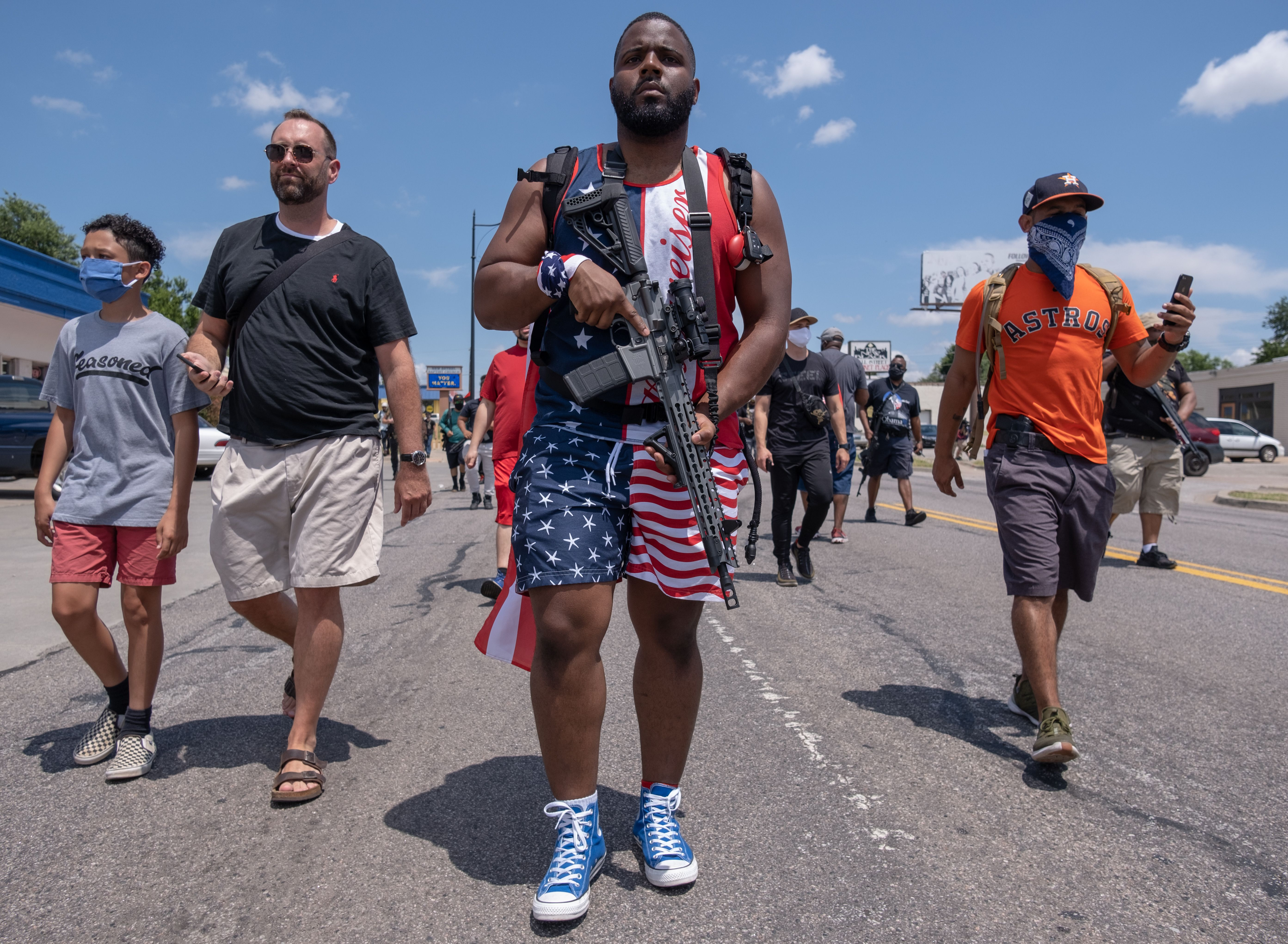 Black gun owners take part in a rally in support of the Second Amendment in Oklahoma City on June 20, 2020.