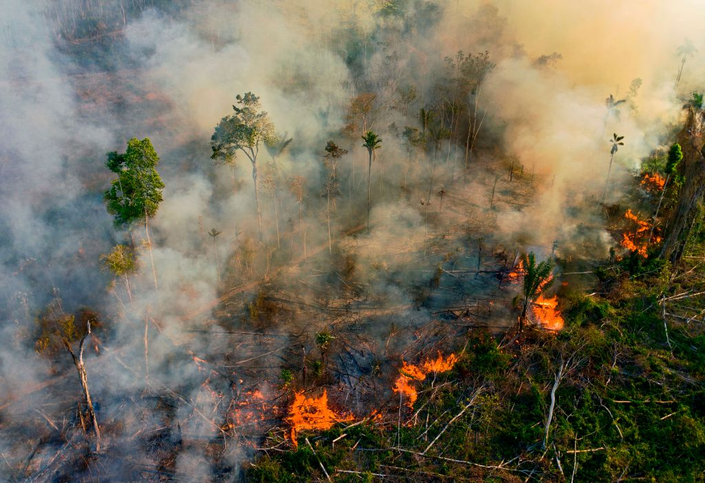 Smoke and flames rise from an illegally lit fire in Amazon rainforest reserve, south of Novo Progresso in Para state, Brazil, on Aug. 15, 2020.