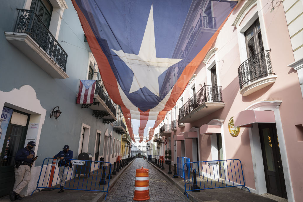 The Puerto Rican flag is seen outside the Governor's residence as Puerto Ricans vote in the general election in San Juan, Puerto Rico on November 03, 2020.