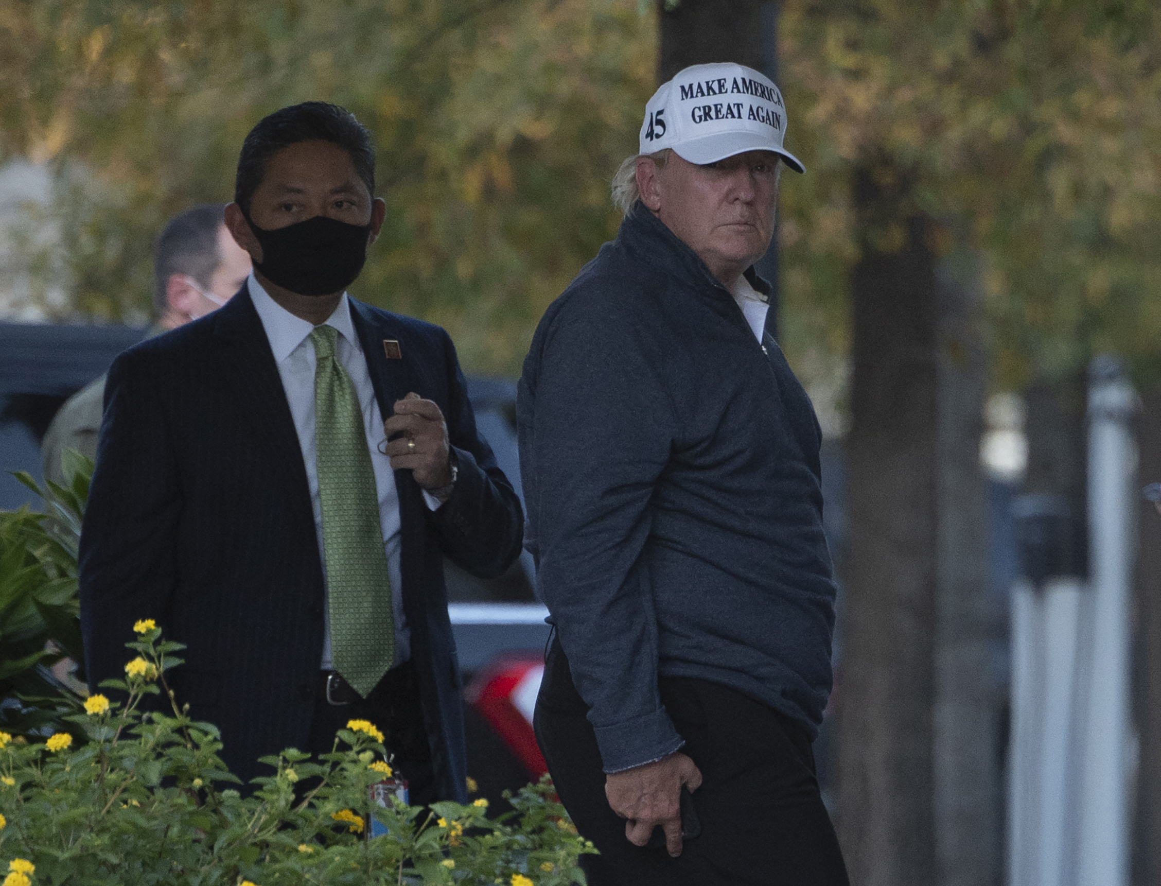 President Donald Trump returns to the White House from playing golf after Joe Biden was declared the winner of the 2020 presidential election in Washington, DC on November 7, 2020.