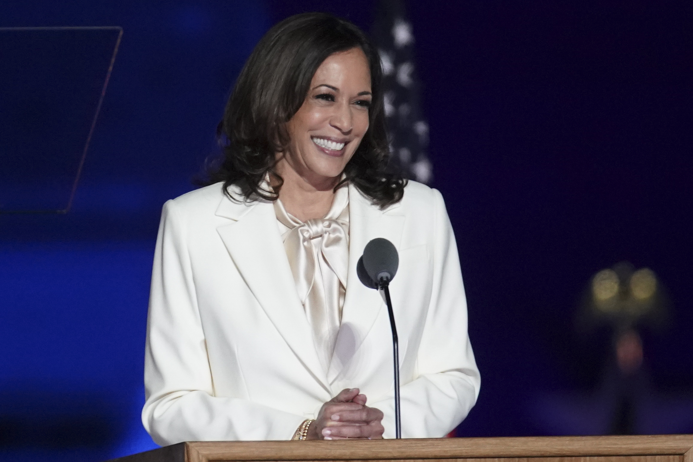 U.S. Vice President-elect Kamala Harris speaks during an election event in Wilmington, DE, Sat. Nov. 7, 2020. Joe Biden defeated Donald Trump to become the 46th U.S. president, unseating the incumbent with a pledge to unify and mend a nation reeling from a worsening pandemic, faltering economy and deep political divisions.