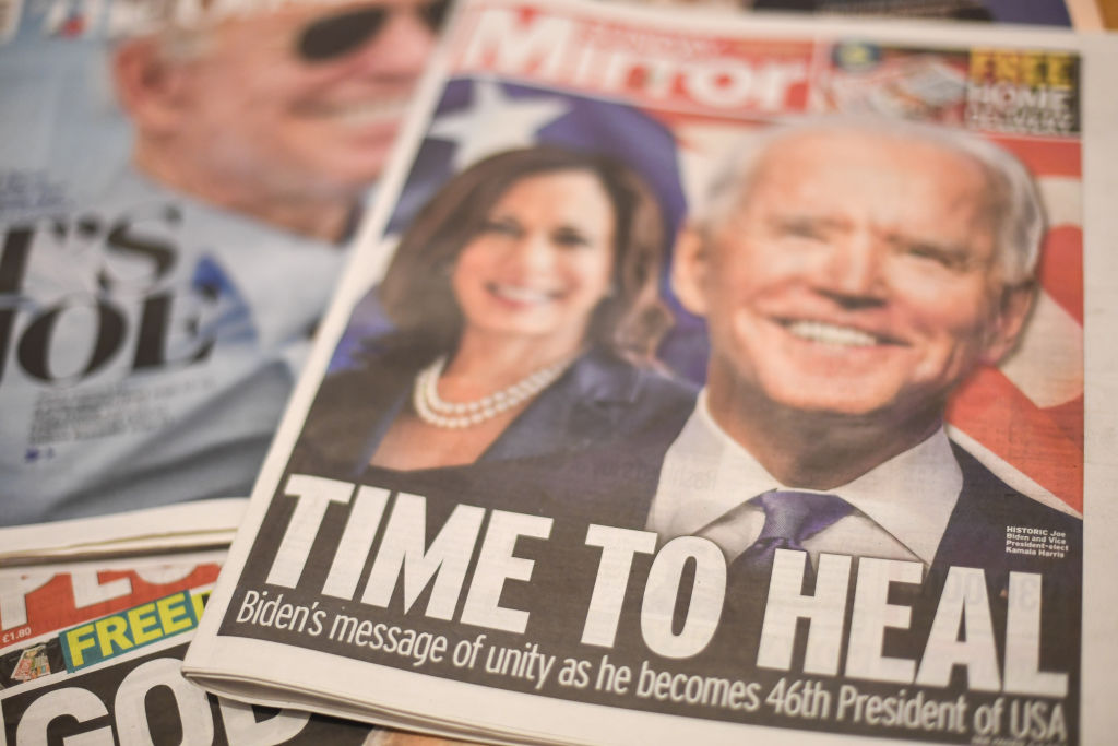 Joe Biden's projected US presidential election victory is seen on the front pages of British newspapers on Nov. 8, 2020 in London, United Kingdom.
