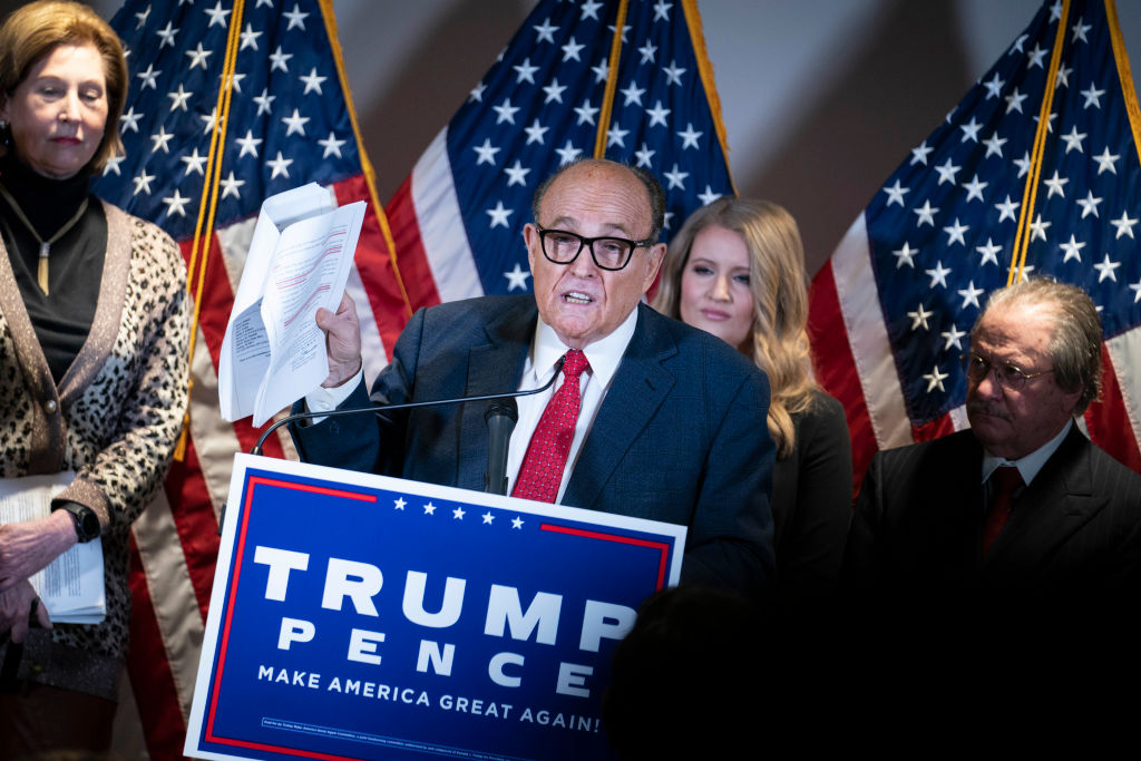 Rudy Giuliani, lawyer for President Donald Trump, speaks during a news conference about lawsuits related to the presidential election results in Washington, D.C., on Nov. 19, 2020.