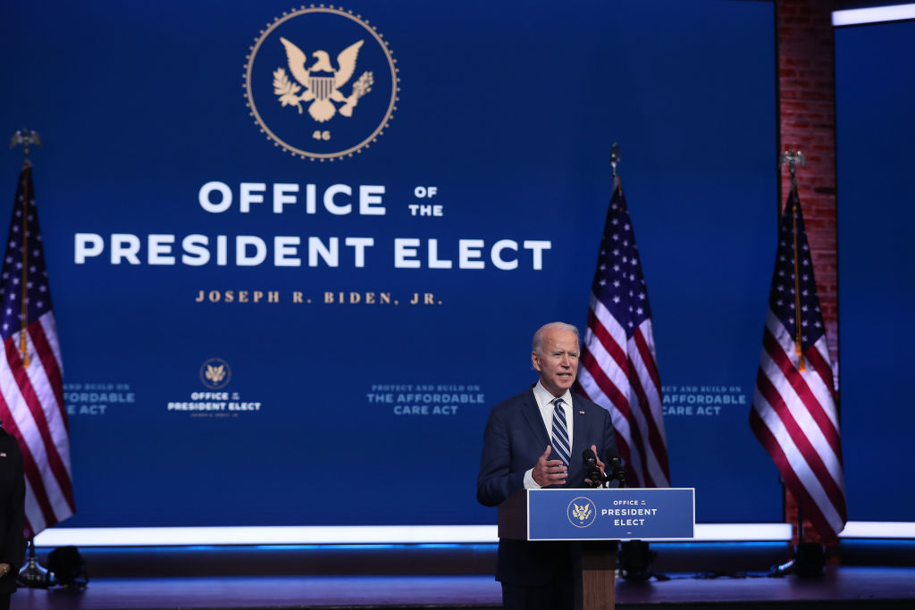 U.S. President-elect Joe Biden addresses the at the Queen Theater in Wilmington, Delaware, November 10, 2020.