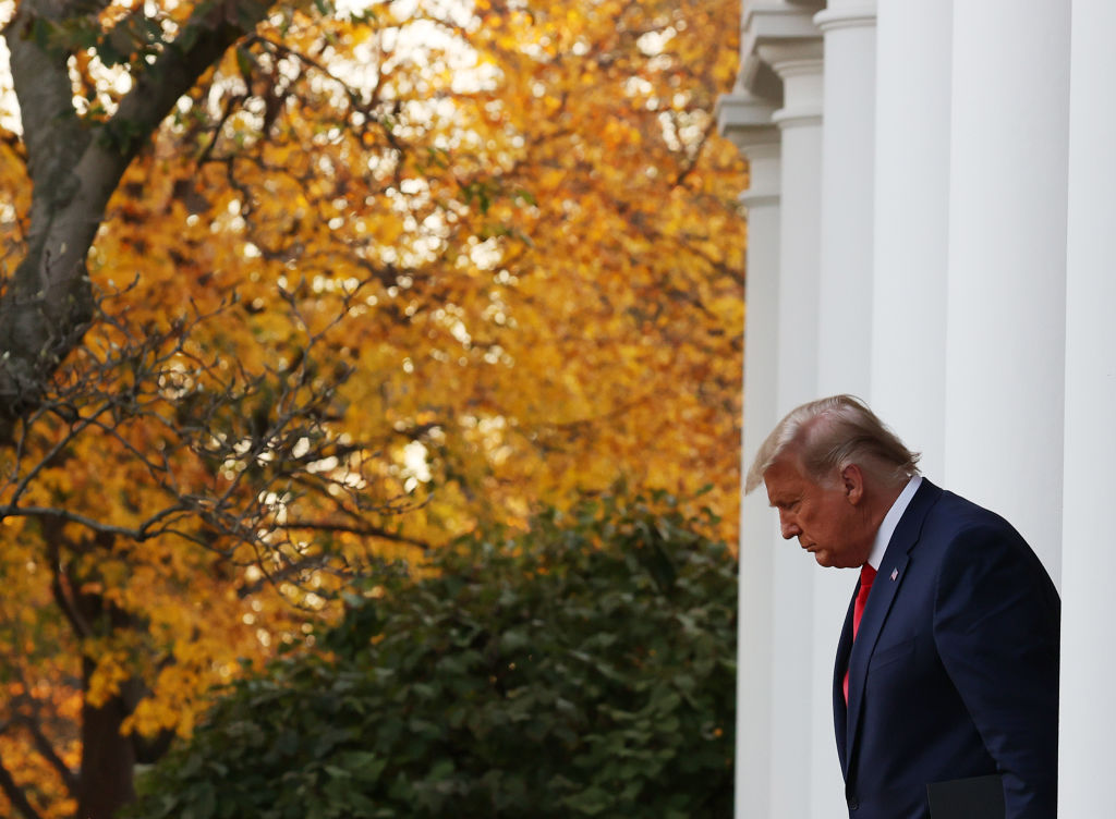 U.S. President Donald Trump walks up to speak about Operation Warp Speed in the Rose Garden at the White House in Washington, DC, on November 13, 2020.