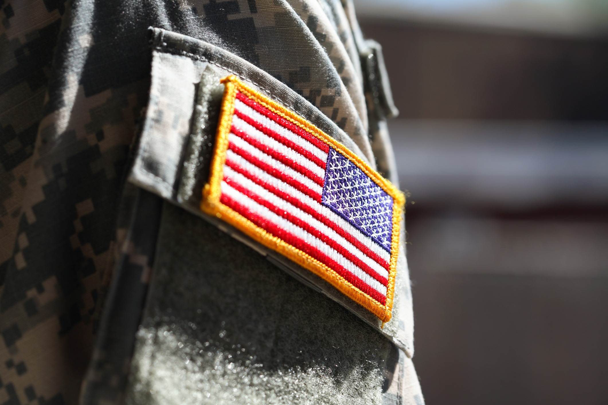 Military soldier's American flag arm patch.