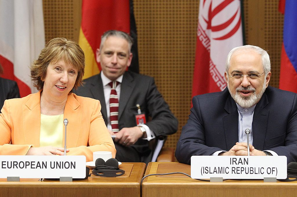 Catherine Ashton (L), High Representative of the Union of Foreign Affairs and Security Policy for the European Union, and Iranian Foreign Minister Mohammad Javad Zarif attend the second day of the second round of P5+1 talks with Iran at the UN headquarters in Vienna, Austria on March 19, 2014
