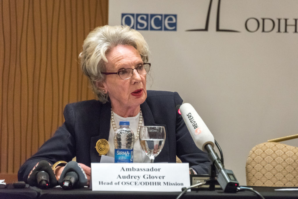 Audrey Glover, Head Ambassador of the OSCE/ODIHR, opens the Office for Democratic Institutions and Human Rights Election Observation Mission in Turkey for the Early Presidential and Parliamentary Elections of 2018, during a press conference at the Sheraton Hotel in Ankara, Turkey, on 24 May 2018.