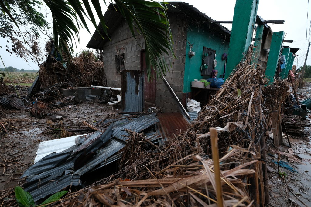 Houses severely damaged by  hurricane Eta remain empty as local villagers evacuate the area ahead of Hurricane Iota on November 17, in La Lima, Honduras.