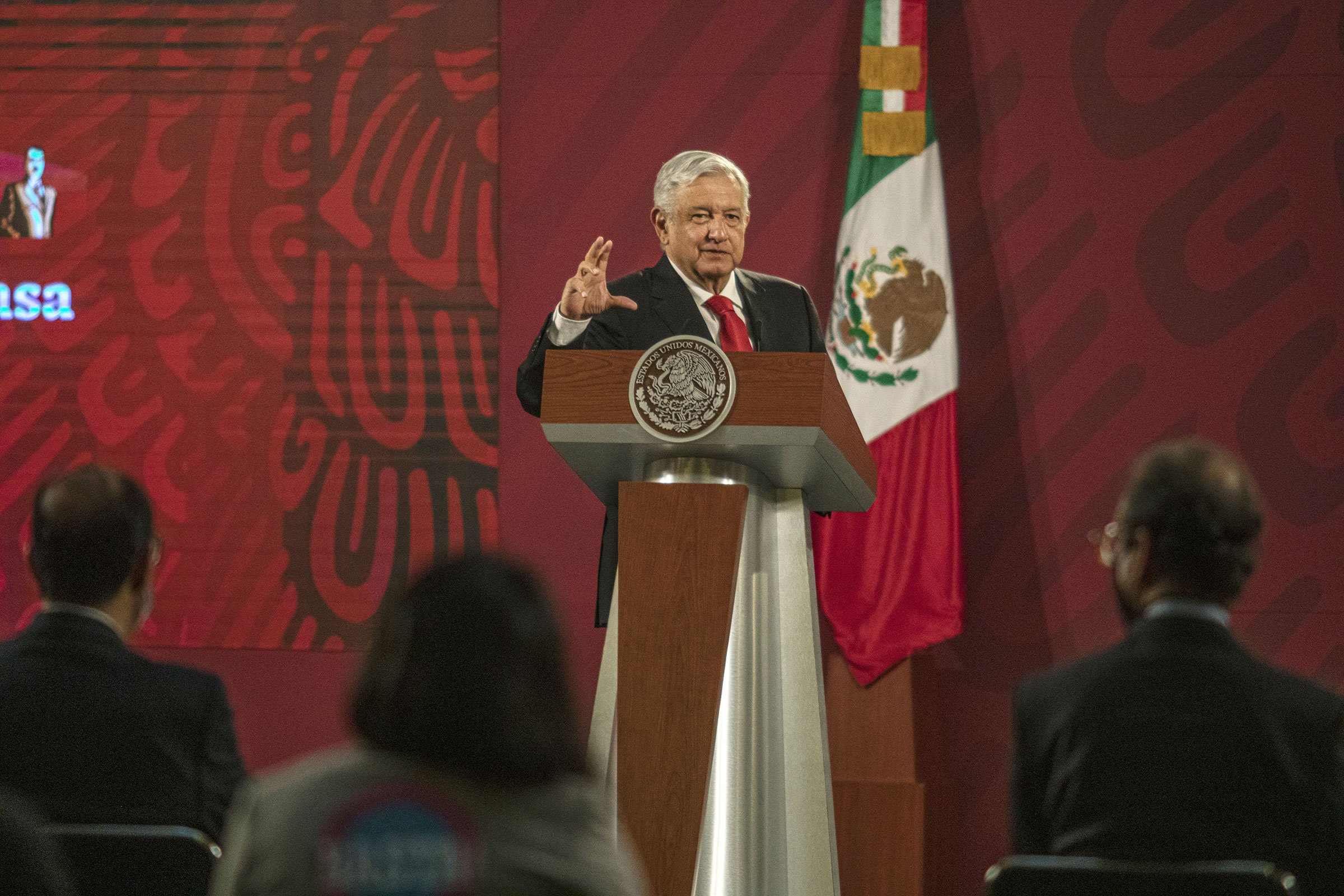 Andres Manuel Lopez Obrador, Mexico's president, speaks during a news conference at the National Palace in Mexico City, on July 22, 2020.