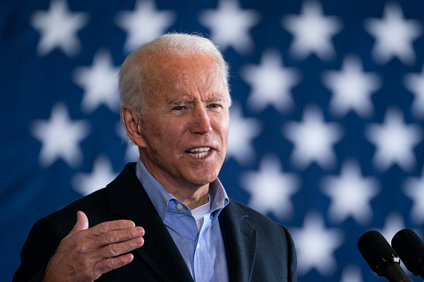 Democratic presidential nominee Joe Biden speaks at a get-out-the-vote drive-in rally at Cleveland Burke Lakefront Airport in Cleveland, Ohio on November 02, 2020.