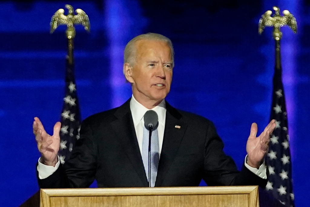 President-elect Joe Biden delivers remarks in Wilmington, Delaware, on Nov. 7, 2020, after being declared the winners of the presidential election.