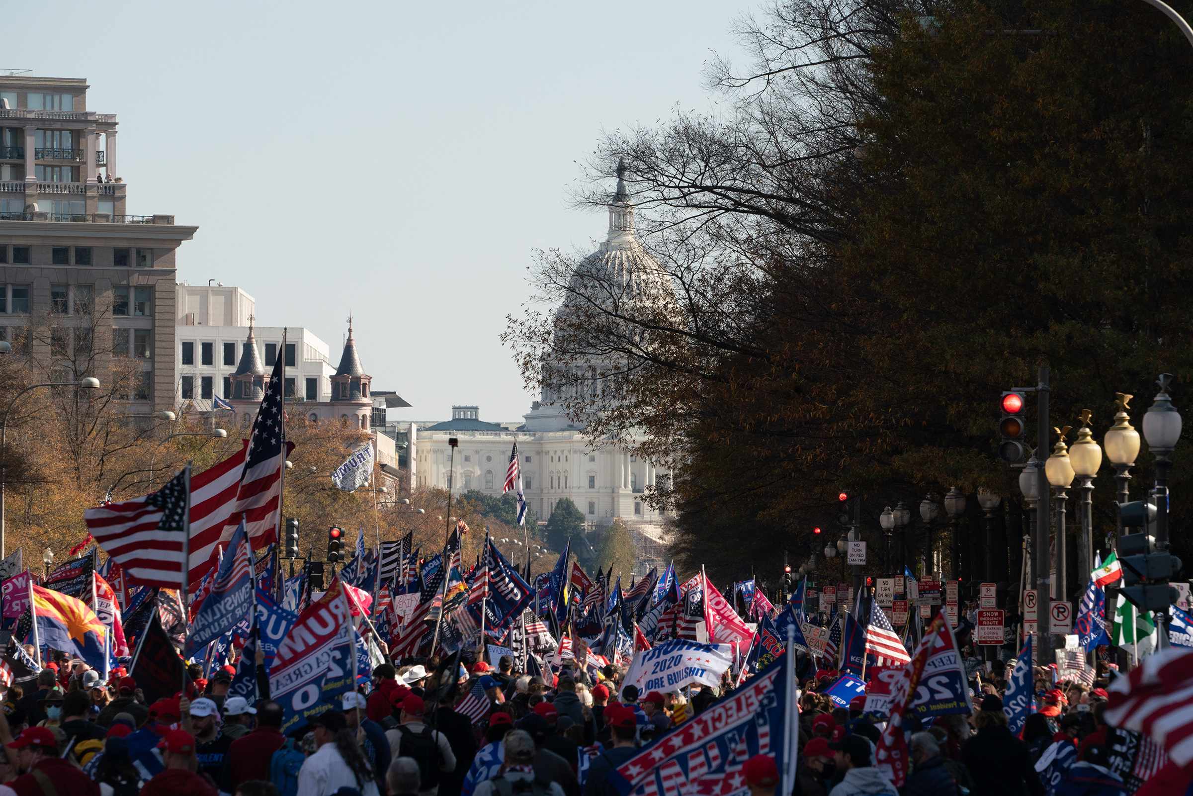 Supporters of President Donald Trump march to the Supreme Court to protest the election results in Washington, D.C., on Nov. 14, 2020.