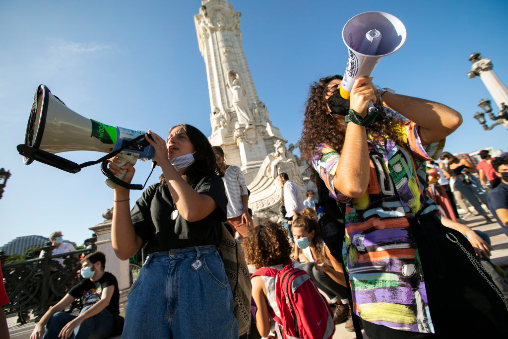 Portuguese students joined the international movement Fridays for Future in Lisbon to protest against the climate situation amid the Covid-19 pandemic.
