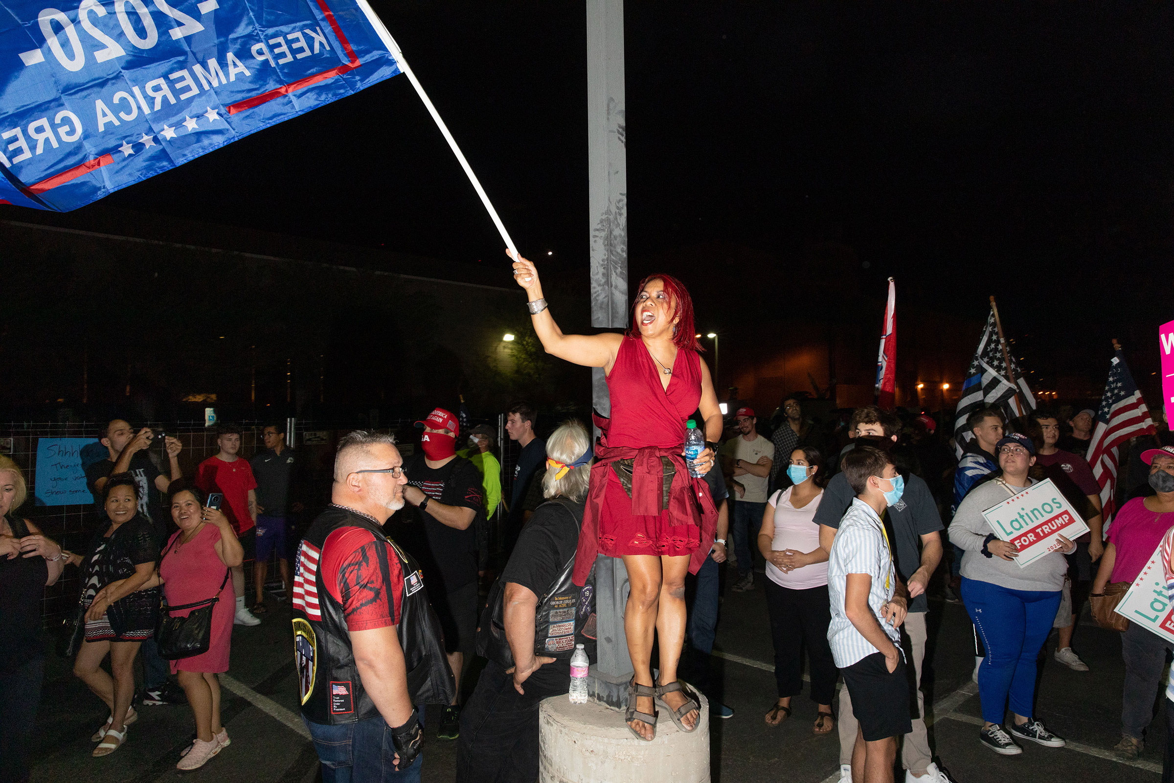 Trump supporters at the Maricopa County Elections office in Phoenix, Ariz., on Nov. 5, 2020.