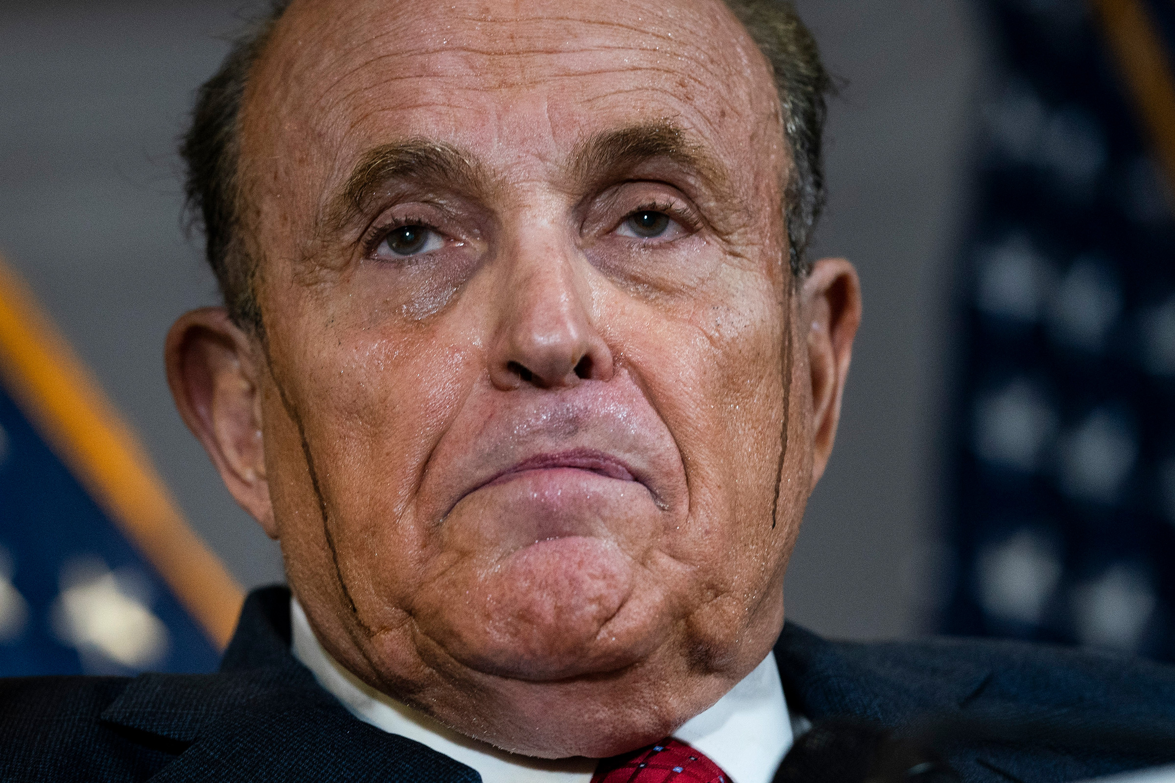 Rudy Giuliani speaks to the press about various lawsuits related to the 2020 election, inside the Republican National Committee headquarters in Washington, D.C., on Nov. 19, 2020.