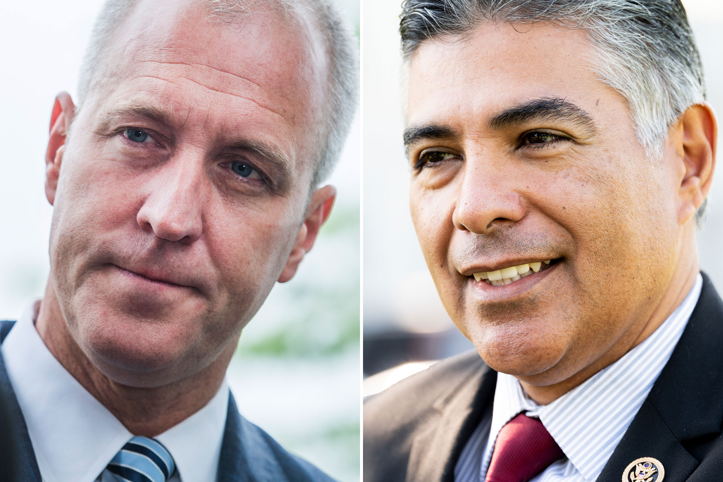 Rep. Sean Patrick Maloney outside the Capitol in Washington on June 13, 2019; Rep. Tony Cardenas outside the Capitol on July 15, 2019
