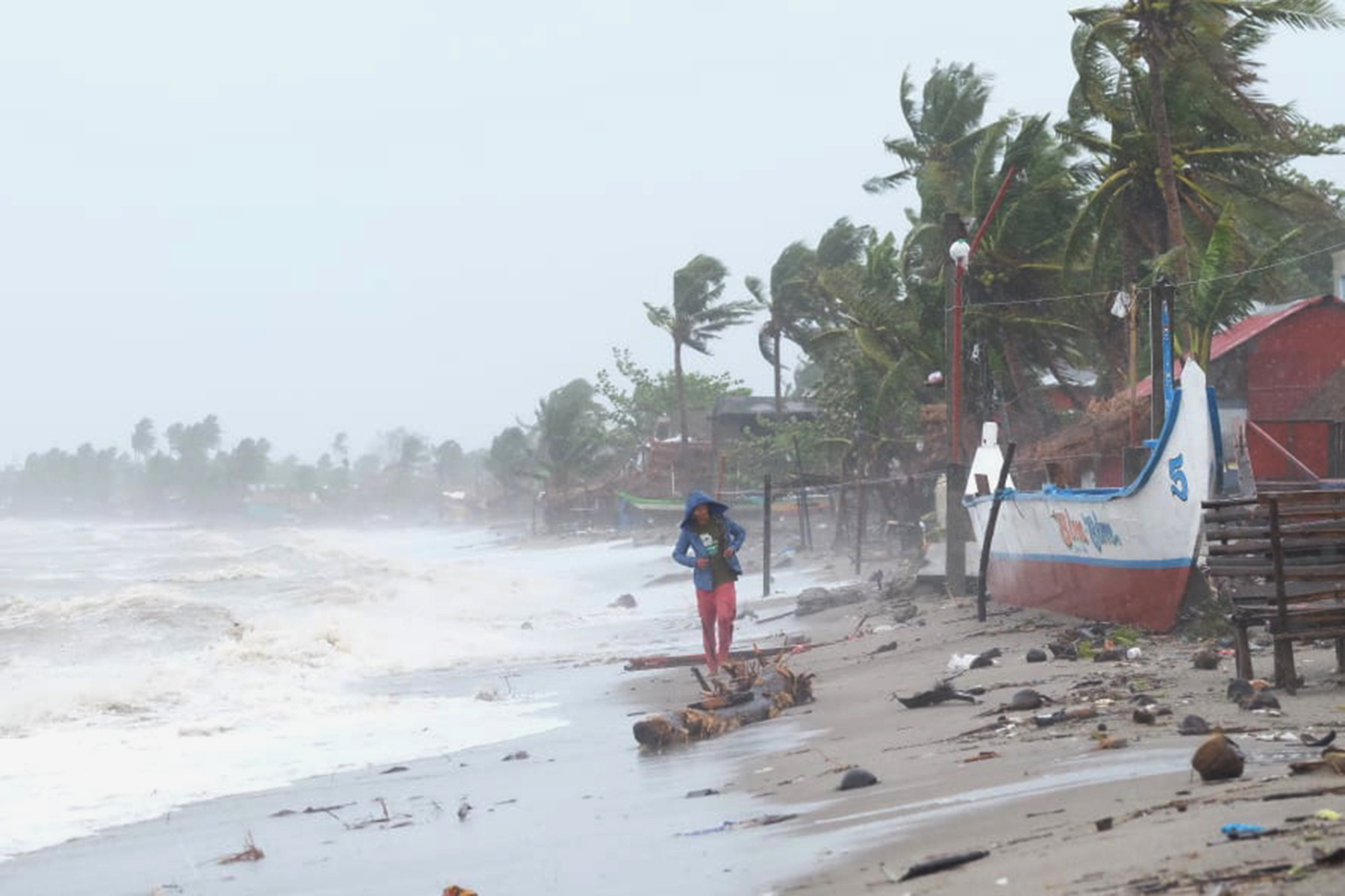 Strong waves batter the coast of Sorsogon province, central Philippines as a typhoon locally known as Goni hits the country on Nov. 1, 2020.