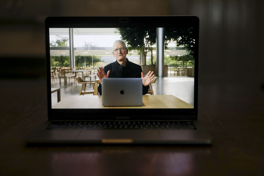 Tim Cook, chief executive officer of Apple Inc, speaks during a virtual product launch in Tiskilwa, Illinois, U.S., on Tuesday, Nov. 10, 2020.