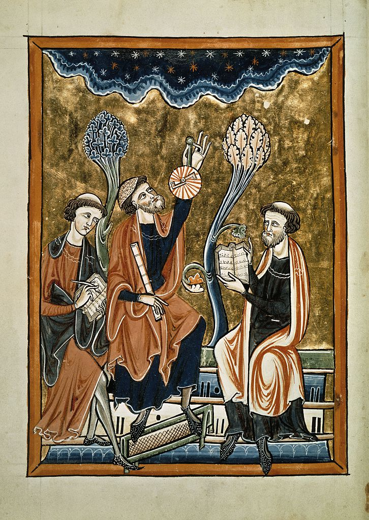 Astronomer raising an astrolabe to a starry sky between writing and computing clerks. From the Psalter of Saint Louis and Blanche of Castille. 13th century.