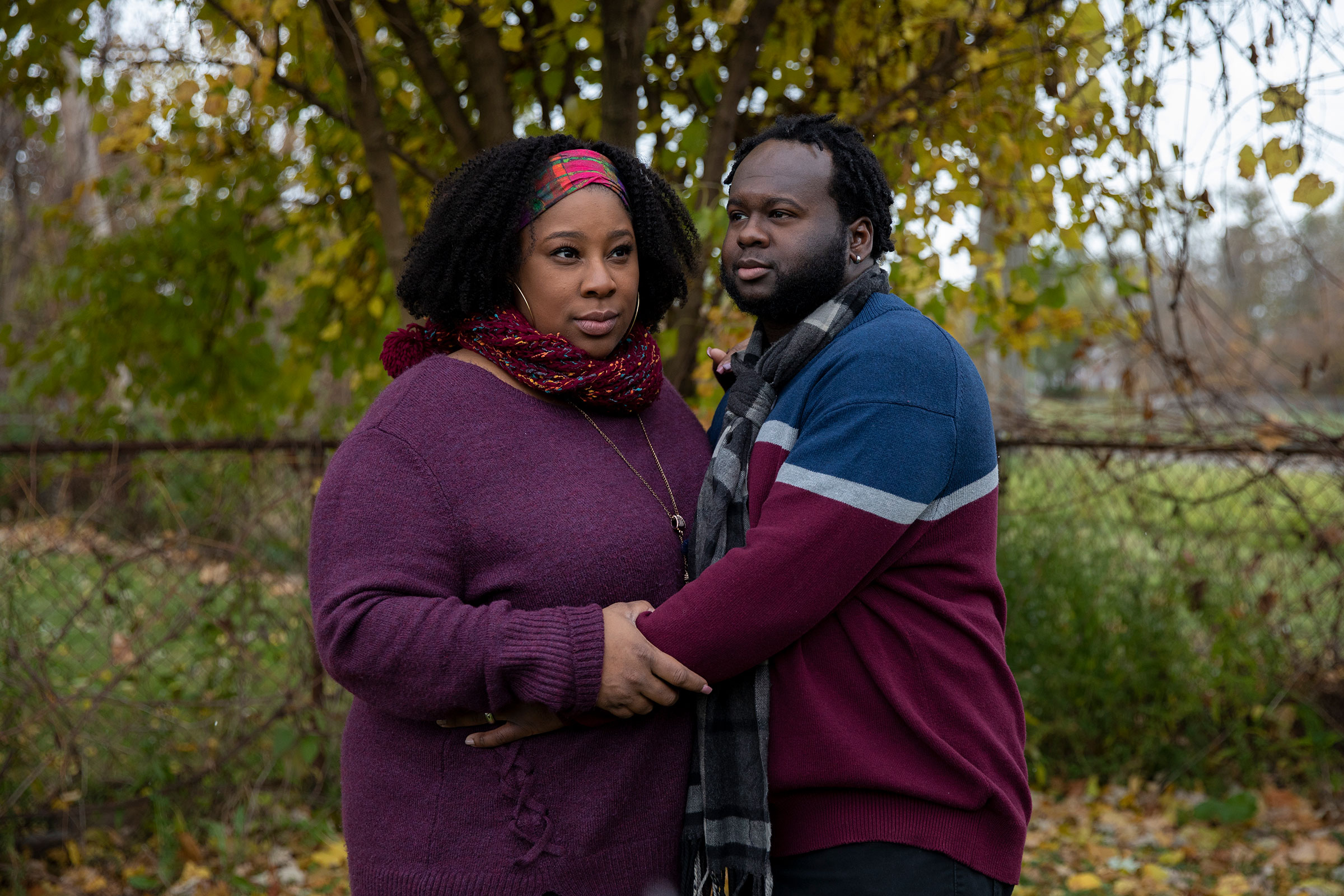 Aaron Jarvis poses for a portrait with her husband Marty Jarvis outside of their home in Detroit, Mich. on Nov. 1, 2020.
