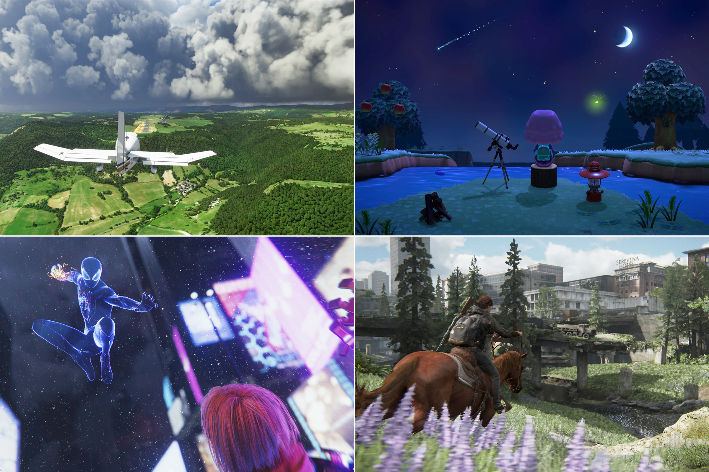 Clockwise from top left: Microsoft Flight Simulator; Animal Crossing; The Last of Us Part II; Spider Man: Miles Morales