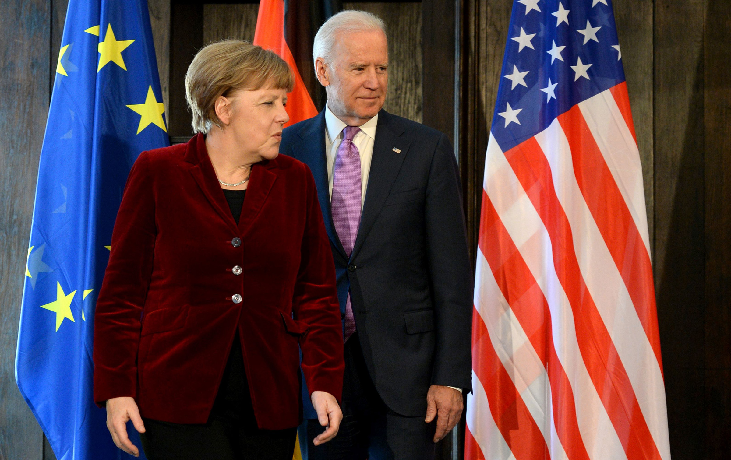 German Chancellor Angela Merkel and former US Vice President Joe Biden  during the 51st Munich Security Conference (MSC) in Munich, on Feb. 7,  2015.