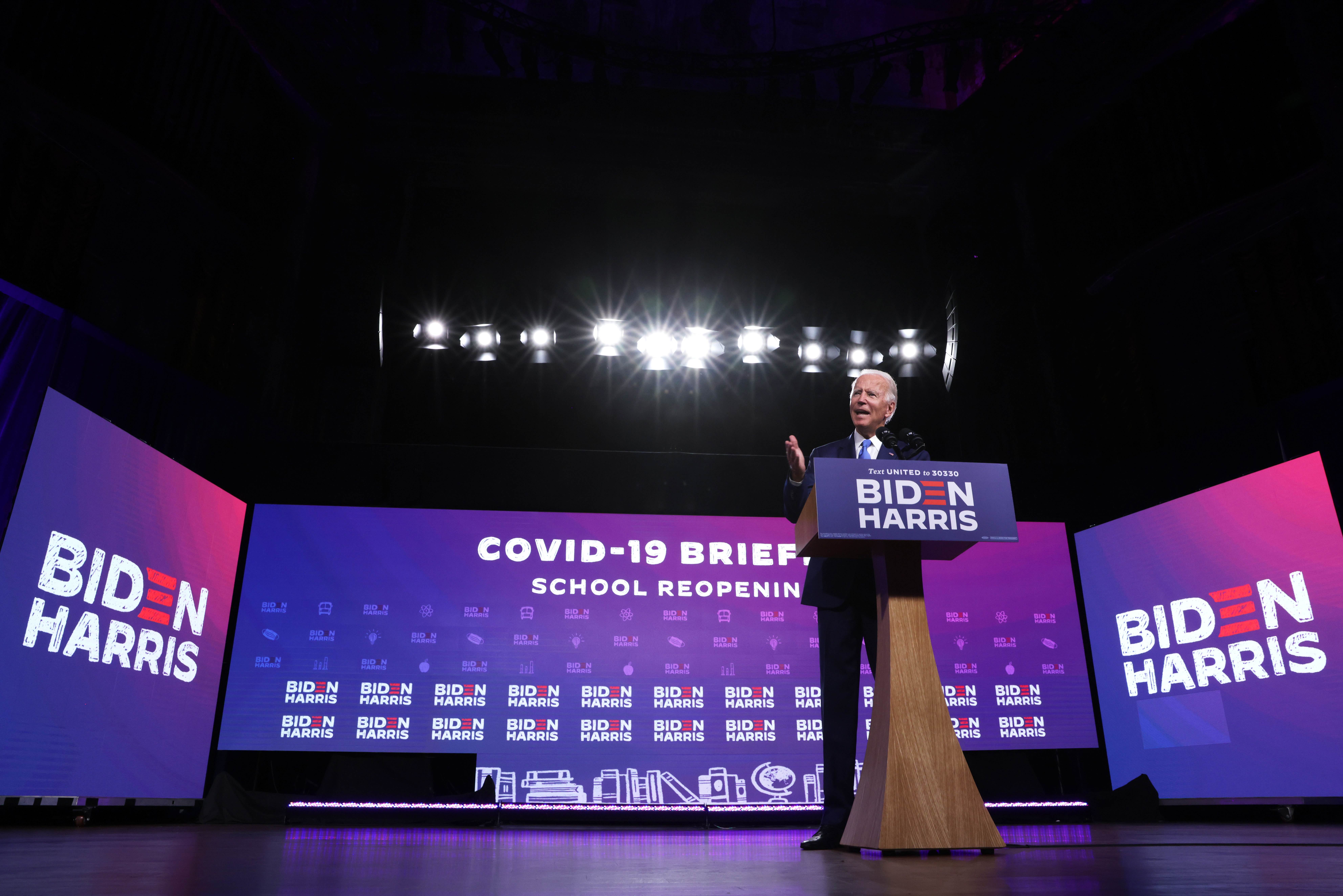 President-elect Joe Biden speaks about safely reopening schools during the coronavirus pandemic at a campaign event Sept. 2, 2020 in Wilmington, Delaware.