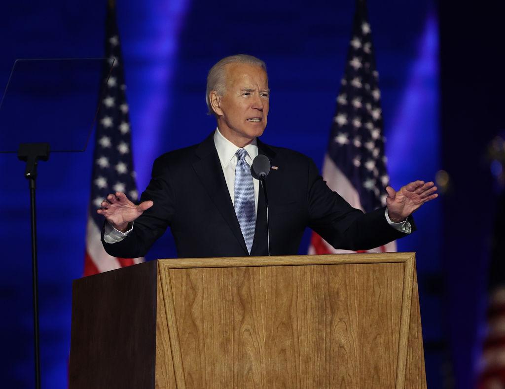 President-elect Joe Biden addresses the nation from the Chase Center Nov. 07, 2020 in Wilmington, Del.