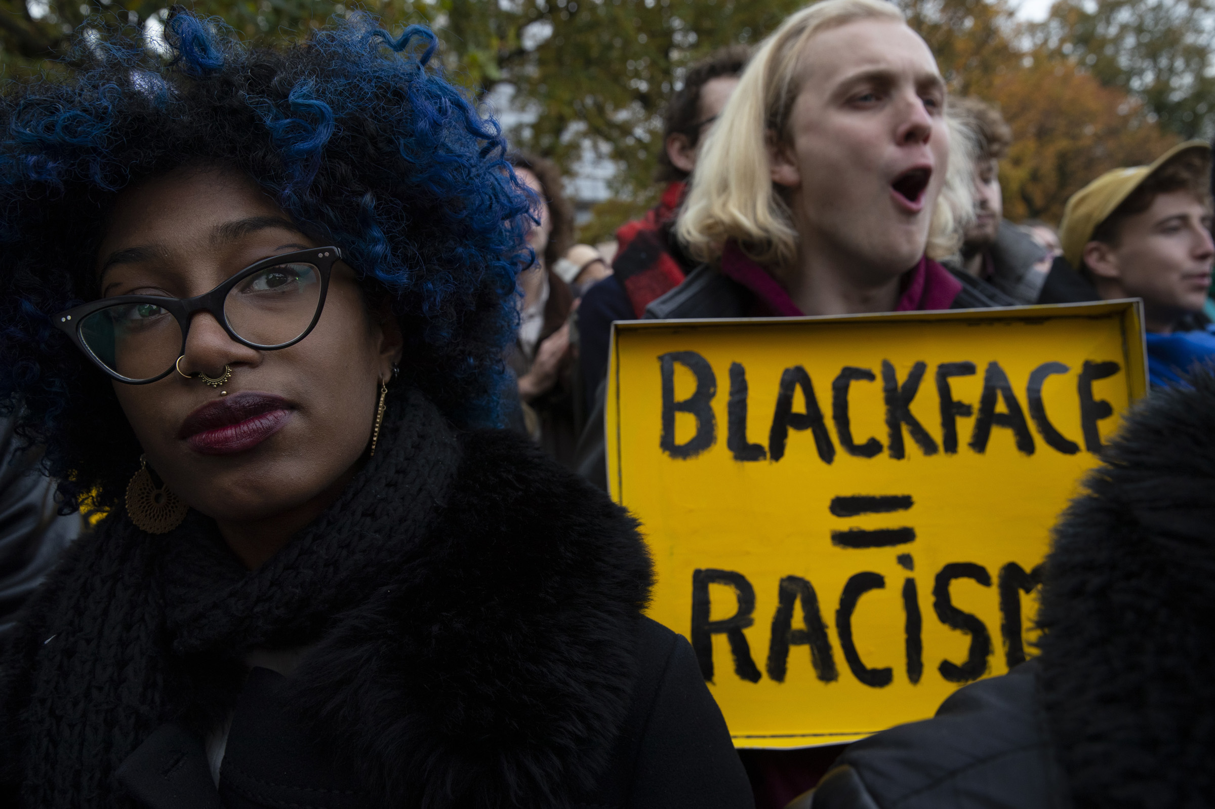 Kick Out Zwarte Piet, or Kick Out Black Pete demonstrators listen to speakers during a gathering in The Hague, Netherlands, on Nov. 16, 2019.